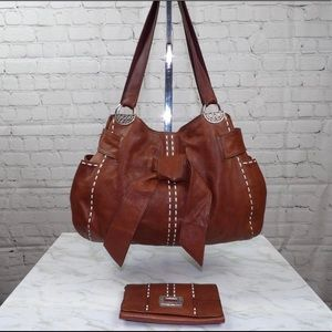 Brighton brown leather tote and matching wallet